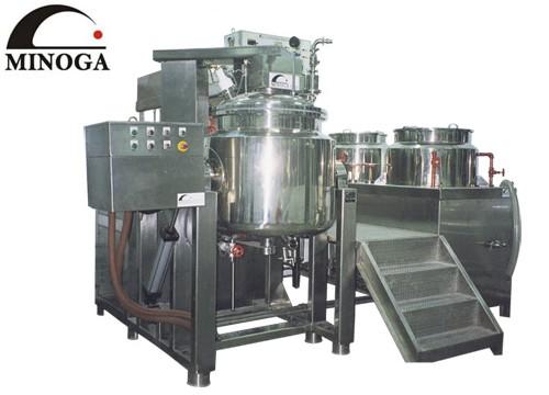 真空乳化装置、粉末混合装置、プラネタリーミキサー(MINOGA INDUSTRIAL  CO., LTD.)