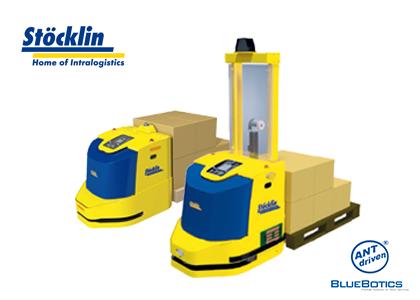 自律走行フォーク型搬送ロボット(Stoecklin Logistik AG社)